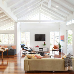 Inspiration For A Contemporary Living Room Remodel In Brisbane With White  Walls