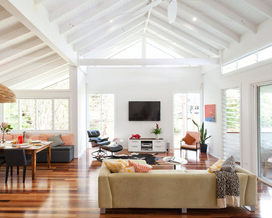Vaulted Ceiling Open Plan Houzz - Vaulted ceiling living room