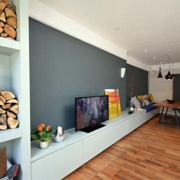 Open Plan Low Level Media Unit With Integrated Banquette Seating - Balham, Londo