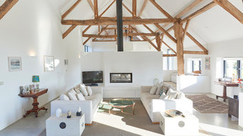 Open plan minimalist living space - Contemporary Barn Conversion in Wiltshire