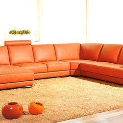 Orange Sectional Leather Sofa with Chaise - Features: