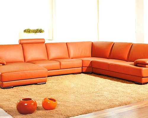 Orange Leather Sofa Houzz