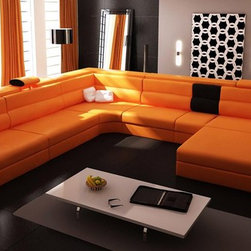 Orange Sectional Set with 2 Decorative Lights, Side Drawer & a Shelf - Features: