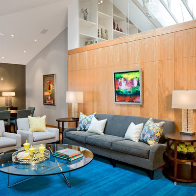 Living room - modern medium tone wood floor living room idea in Minneapolis