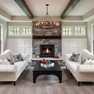 Inspiration for a traditional formal living room in Minneapolis with grey walls, a wood stove and a stone fireplace surround.