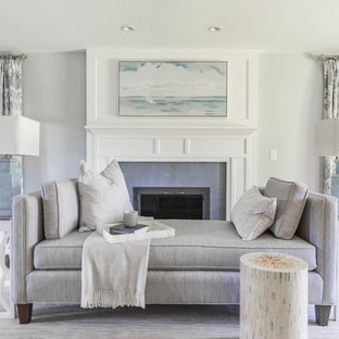 Inspiration For A Beach Style Dark Wood Floor Living Room Remodel In Boston With Gray Walls
