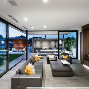 Design ideas for a contemporary living room in Perth.