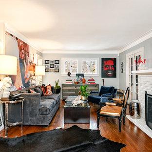 Living Room Eclectic Dark Wood Floor And Brown Idea In Kansas City