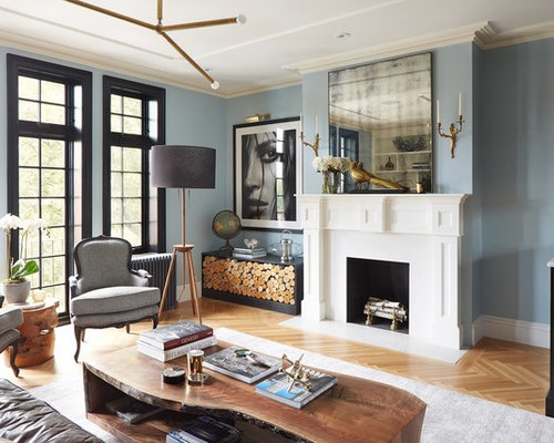 Transitional Living Room Idea In New York With Blue Walls Medium Tone Wood Floors