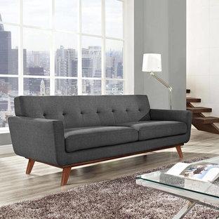 Idee per un soggiorno minimalista di medie dimensioni e stile loft con sala formale, pareti grigie, pavimento in vinile, nessun camino e pavimento grigio