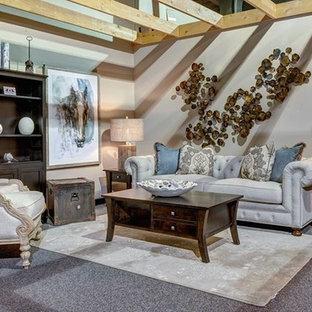 Foto de salón abierto, romántico, de tamaño medio, con paredes beige, moqueta y suelo gris