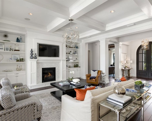 Inspiration For A Large Transitional Enclosed Dark Wood Floor Living Room  Remodel In Orlando With White