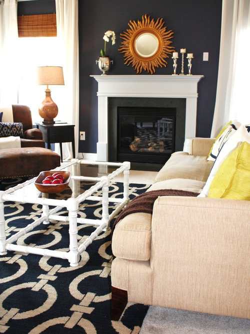 navy blue living room ideas. Transitional living room photo in Charlotte with blue walls and a standard  fireplace Navy Blue Grey Cream Room Living Ideas Photos Houzz