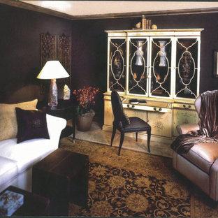 サンディエゴの中サイズのアジアンスタイルのおしゃれな独立型リビング (フォーマル、グレーの壁、トラバーチンの床、暖炉なし、テレビなし、ベージュの床) の写真