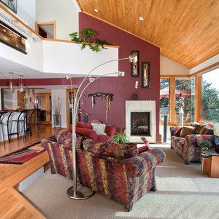 デンバーの広いラスティックスタイルのおしゃれなLDK (フォーマル、マルチカラーの壁、カーペット敷き、標準型暖炉、石材の暖炉まわり、テレビなし、グレーの床) の写真