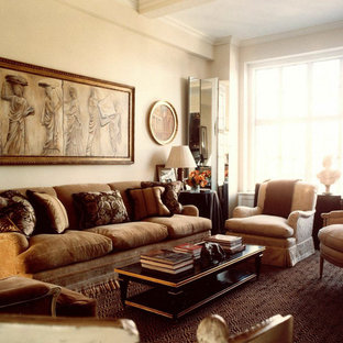 Mid-sized elegant formal and enclosed carpeted living room photo in New York with white walls