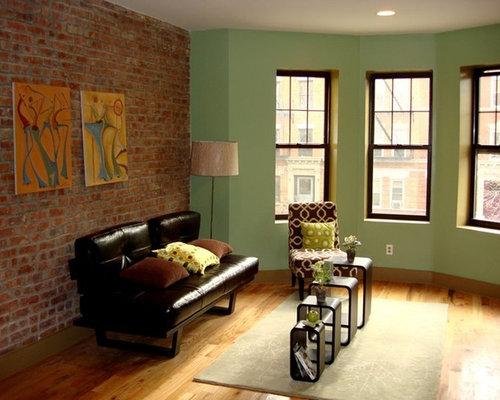 Mid sized green living room design ideas renovations photos for Medium sized living room