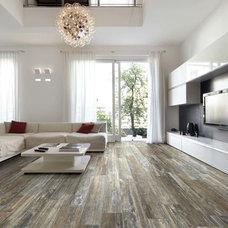 Modern Living Room by THE MASONRY CENTER INC