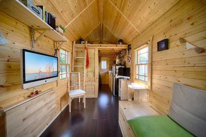Houzz tour sustainable comfy living in 196 square feet for 200 square feet living room design
