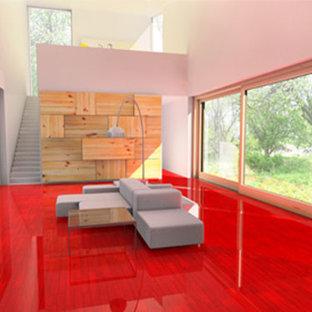 Ispirazione per un soggiorno di medie dimensioni e chiuso con sala formale, pareti bianche e pavimento in legno verniciato