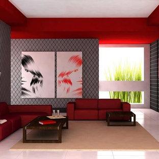 トロントの広いモダンスタイルのおしゃれな独立型リビング (フォーマル、白い壁、コンクリートの床、標準型暖炉、漆喰の暖炉まわり、テレビなし、白い床) の写真