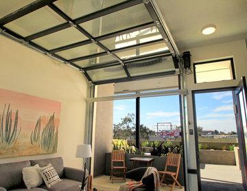 Overhead Glass Garage Door inside living room