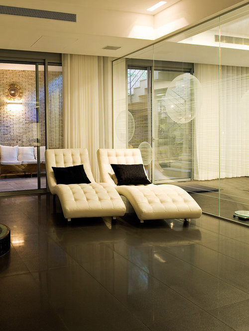 Leather Chaise   Houzz