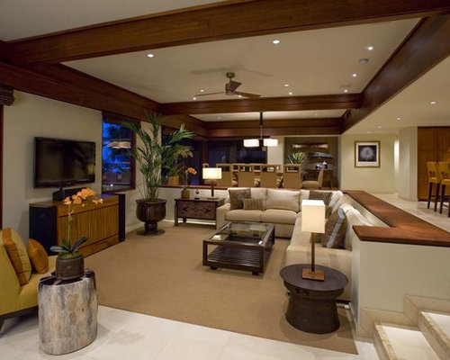 High Quality Example Of An Island Style Living Room Design In Hawaii With Beige Walls  And A Tv