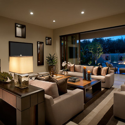 Inspiration for a large contemporary living room remodel in Phoenix with beige walls