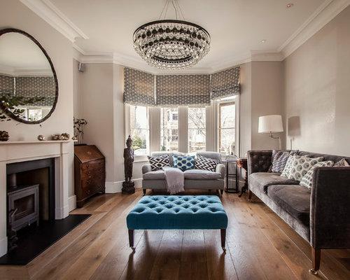 Soggiorno con stufa a legna e pareti grigie foto e idee - Pareti grigie soggiorno ...