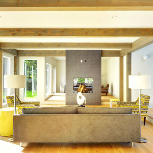 Inspiration for a large contemporary open concept light wood floor living room remodel in Boston with a two-sided fireplace, gray walls and a concrete fireplace