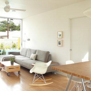 Ejemplo de salón abierto, moderno, pequeño, con paredes blancas, estufa de leña y suelo de madera en tonos medios