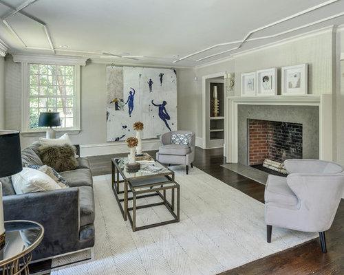 inspiration for a farmhouse enclosed dark wood floor and gray floor living room remodel in atlanta