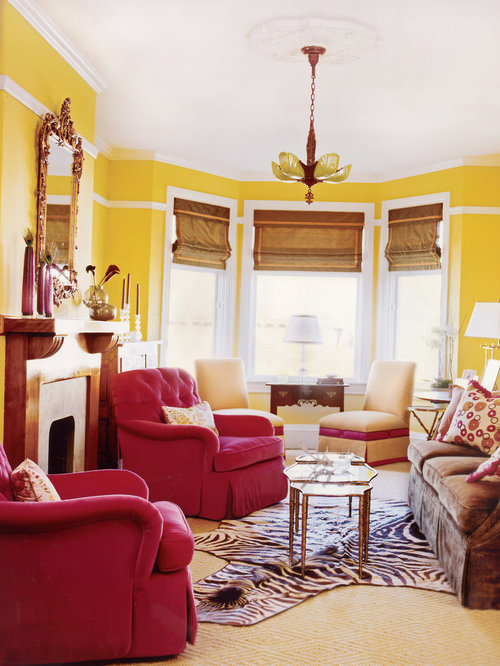Red And Yellow Living Room | Houzz