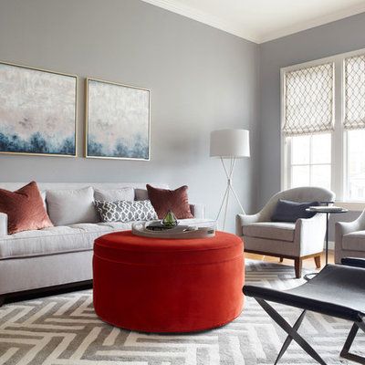Inspiration for a transitional dark wood floor living room remodel in San Francisco with gray walls, a standard fireplace and a stone fireplace