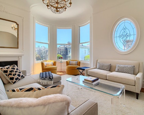Victorian Enclosed Living Room Idea In San Francisco With White Walls And A Standard Fireplace