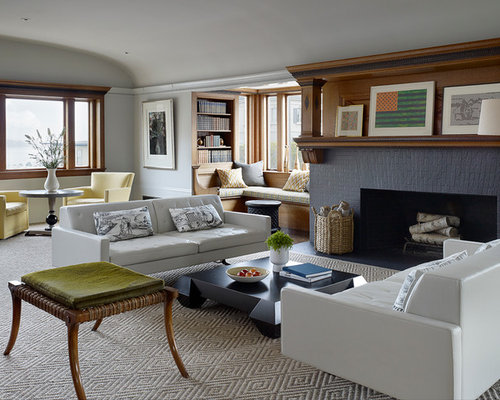 white leather sofa living room ideas. Transitional formal and enclosed carpeted living room idea in San Francisco  with a standard fireplace White Leather Couch Houzz