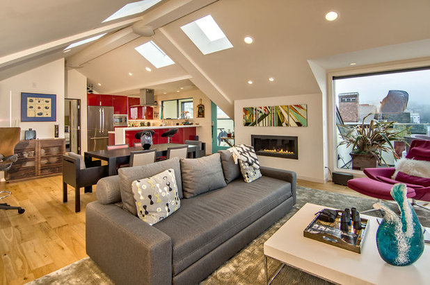 Contemporary Living Room by Studio S Squared Architecture, Inc.