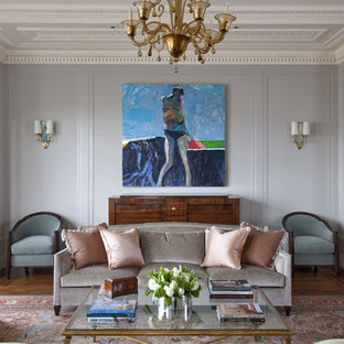 Example of a classic dark wood floor living room design in San Francisco with blue walls
