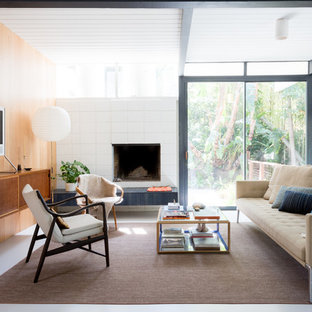 Living room - mid-sized 1950s formal white floor living room idea in Los Angeles with multicolored walls, a standard fireplace and a tv stand