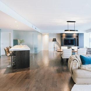 Immagine di un ampio soggiorno minimalista aperto con sala formale, pareti bianche, pavimento in compensato, camino classico, cornice del camino in pietra, nessuna TV e pavimento marrone