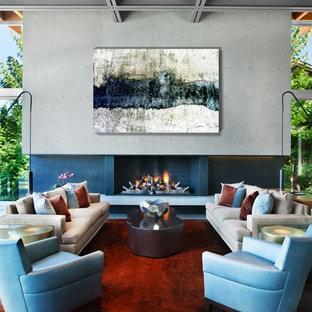 Immagine di un ampio soggiorno design aperto con sala formale, pareti grigie, pavimento in gres porcellanato, camino classico, cornice del camino in cemento e pavimento grigio