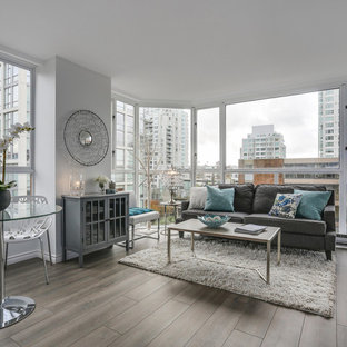 Mid Sized Trendy Formal And Enclosed Slate Floor Living Room Photo In  Vancouver With White