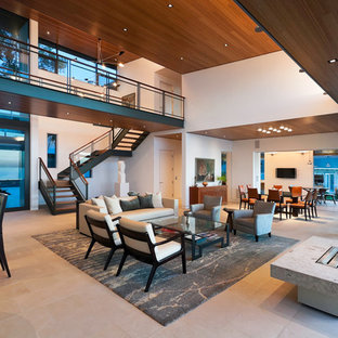 Inspiration for a modern open concept living room remodel in Santa Barbara with white walls