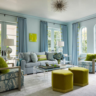 Coastal formal living room photo in Miami with blue walls