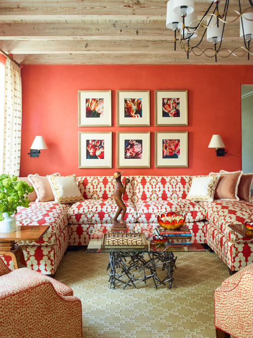 Beach style living room design ideas renovations photos for Orange walls living room designs