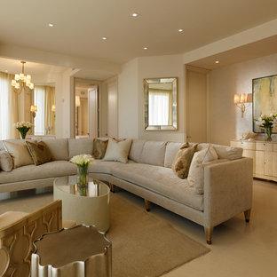 Idéer för mellanstora vintage allrum med öppen planlösning, med beige väggar och marmorgolv