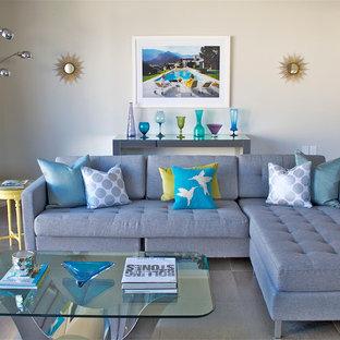 Ispirazione per un soggiorno moderno stile loft con pareti bianche e pavimento con piastrelle in ceramica