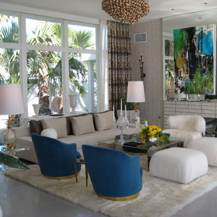 Example of a 1950s living room design in Los Angeles