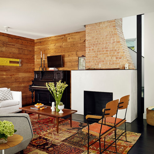 Inspiration For A Contemporary Dark Wood Floor Living Room Remodel In  Austin With A Standard Fireplace